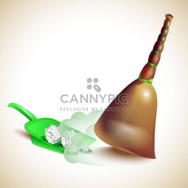 Dustpan and broom vector illustration - Free vector #131554