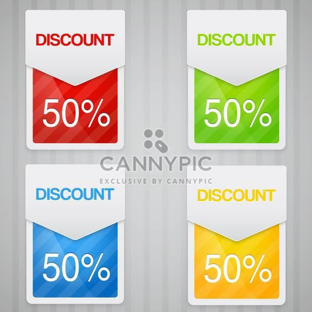 Etiketten mit 50 Prozent Rabatt Rabatt - Kostenloses vector #131914