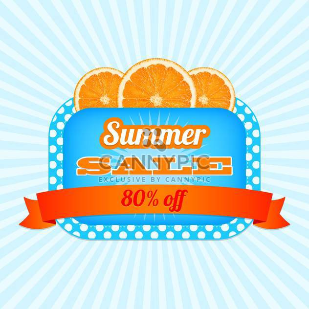Summer sale icon with orange slices on striped background - Free vector #131954