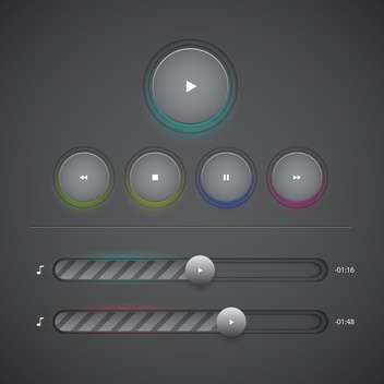 Vector web audio players on dark background - Free vector #131974