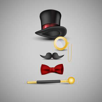 Magician kit: top hat, mustaches, monocle, bow tie and wand - Free vector #131994