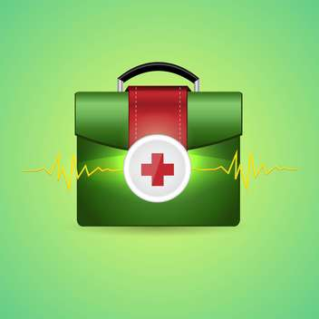 Vector illustration of first aid box on green background - vector gratuit #132004