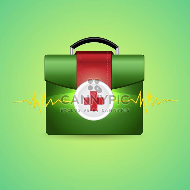Vector illustration of first aid box on green background - Free vector #132004