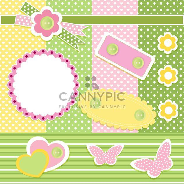 Vector set of cute frames with floral background - Free vector #132094