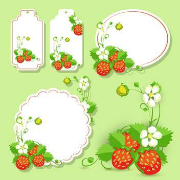 Vector frames with strawberry on green background - vector #132144 gratis