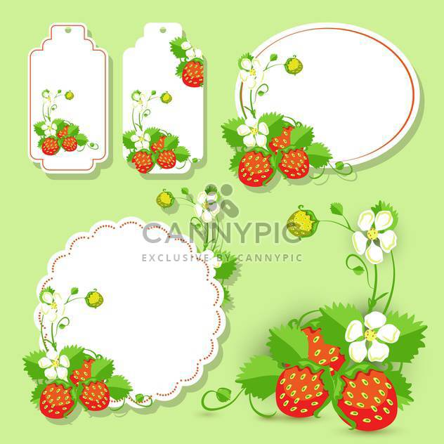 Vector frames with strawberry on green background - Free vector #132144