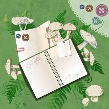 Vector empty notebook on floral green background - vector gratuit #132154