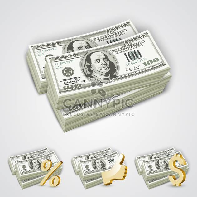 Dollar-Scheine im Paket mit goldenen Prozent, Daumen hoch und Dollar-Symbole - Kostenloses vector #132184