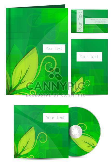 green floral cards with cd disk on white background - Free vector #132224