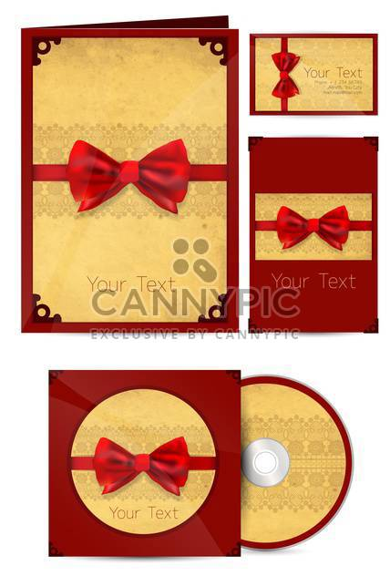 Selected vintage corporate templates with red ribbons , vector Illustration - Free vector #132234