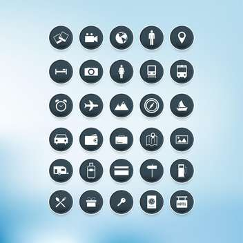 Vector travel icons set on blue background - vector gratuit #132324