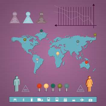 Business infographic elements with map and graph on purple background - Free vector #132344