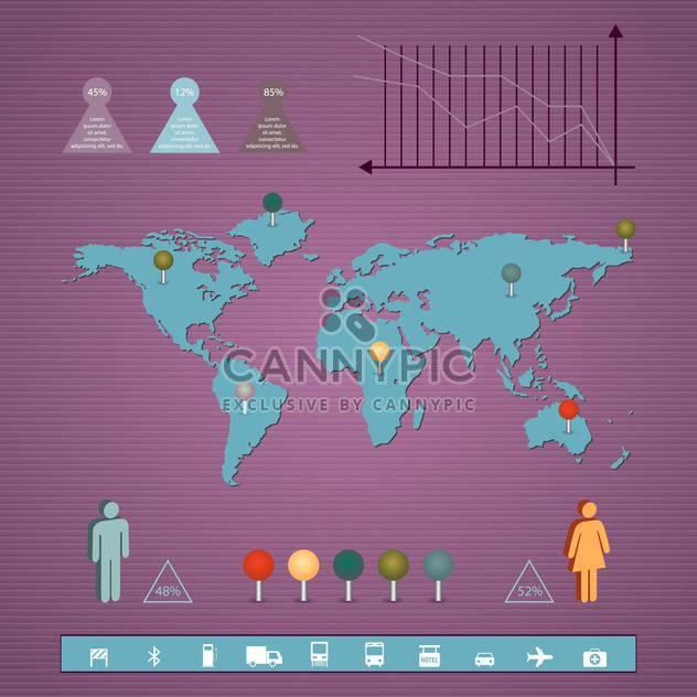 Geschäft Infographik Elemente mit Karte und Diagramm auf Lila Hintergrund - Kostenloses vector #132344