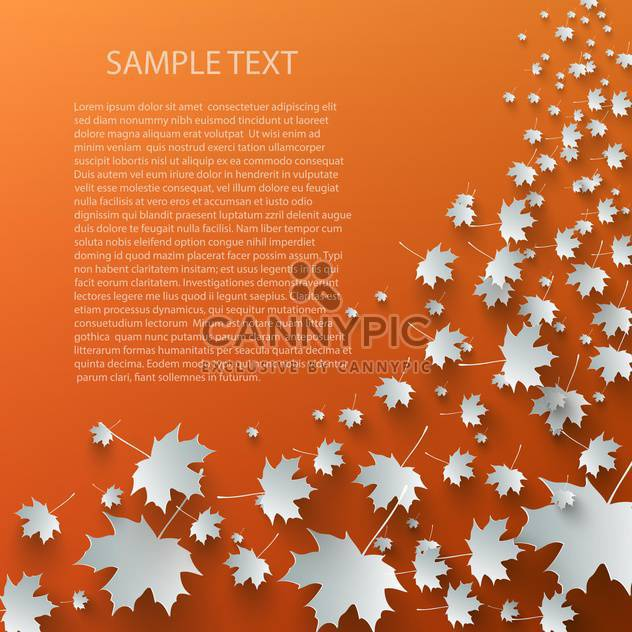 Flying autumn leaves background with space for text - Free vector #132394