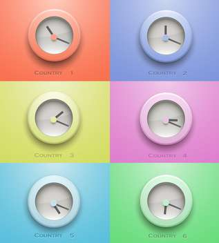 Colorful clock icon buttons from different contries - Free vector #132404