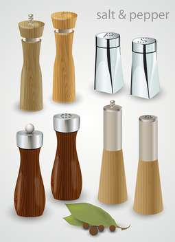 Salt and pepper mills and shakers on gray background - Free vector #132414