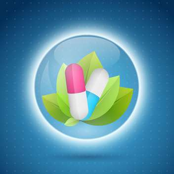 Pills and leaves in the circle capcule on blue background - vector gratuit(e) #132424