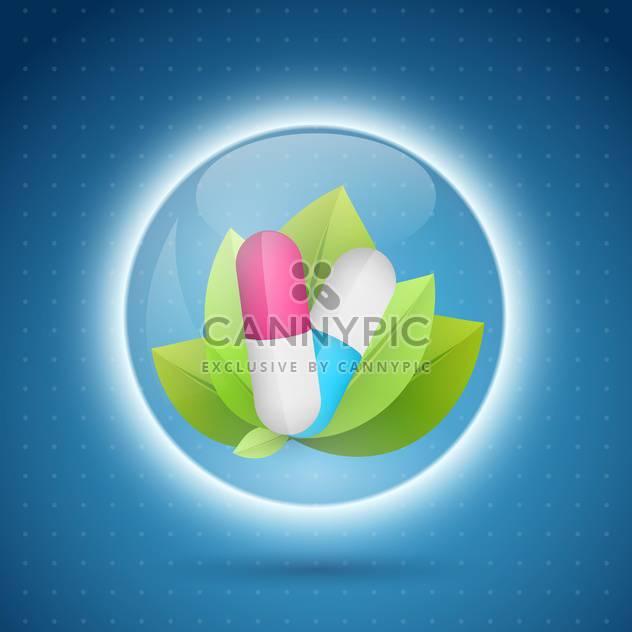 Pillen und Blätter in den Capcule Kreis auf blauem Hintergrund - Kostenloses vector #132424