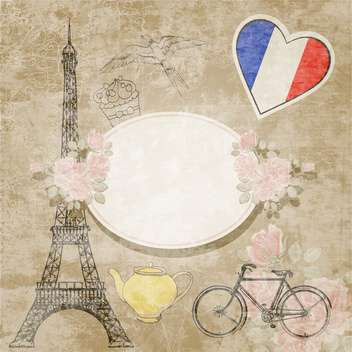 vintage travel France background - vector gratuit #132544