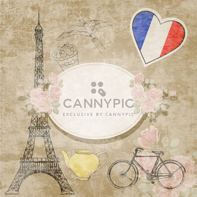 vintage travel France background - Free vector #132544