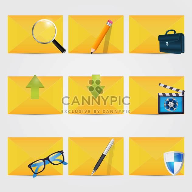 Korrespondenz-Vektor-Icons mit Umschlägen - Kostenloses vector #132624