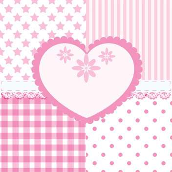heart and seamless background patterns - Free vector #132814