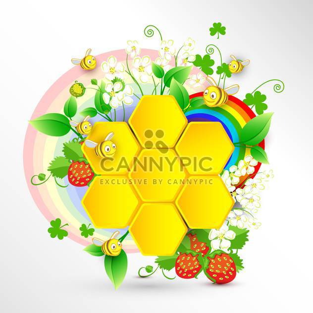 bees and honeycomb with summer rainbow - Free vector #132854