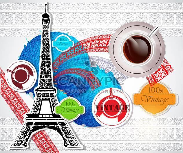Eiffelturm mit Kaffee über Jahrgang Hintergrund - Free vector #133104