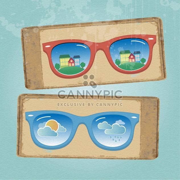 Gläser mit Stadtansicht und Wetter Reflexion - Kostenloses vector #133144