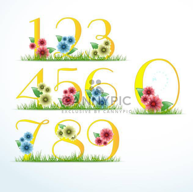 vector numbers in floral style - Free vector #133384