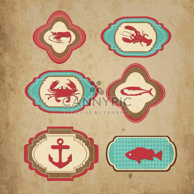 marine retro icons vector set - Free vector #133424