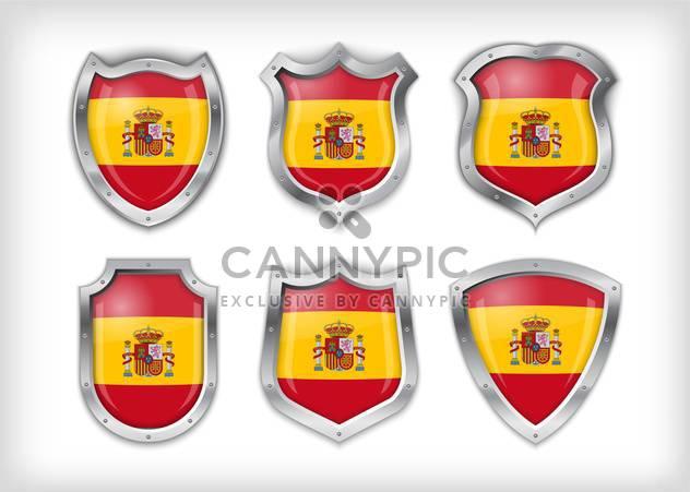 spain flag on metal shiny shield set - Free vector #133594