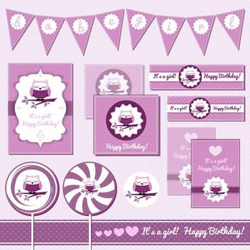 baby girl greeting cards with owl - vector #133664 gratis