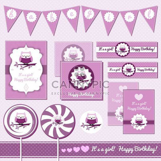 baby girl greeting cards with owl - Free vector #133664