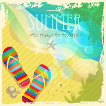 flip-flops on sandy summer beach - бесплатный vector #133674