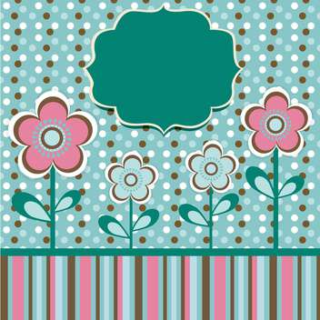 green invitation background with flowers - vector #133794 gratis