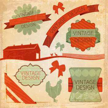 set of retro labels background - vector #133864 gratis