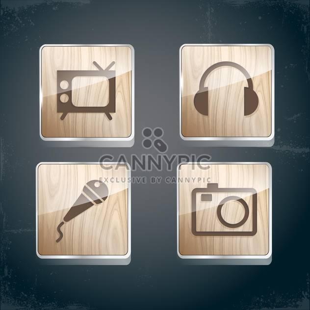 Satz von Foto, video und musikalische Symbole - Free vector #133914