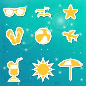 set of summer travel icons - vector gratuit #134054