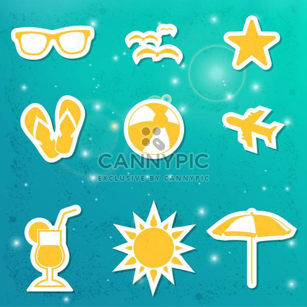 set of summer travel icons - Free vector #134054