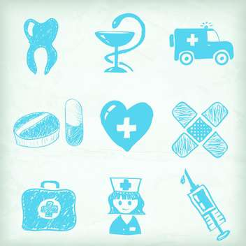 sketched medical icon set - vector gratuit #134324
