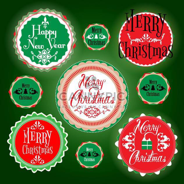 merry christmas holiday vintage labels - Free vector #134484