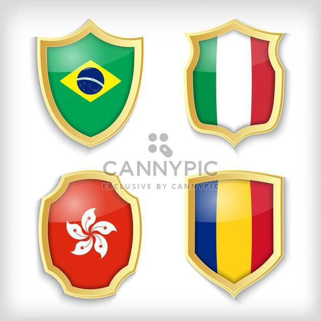 set of shields with different countries stylized flags - Free vector #134514