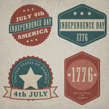 retro vector independence day lables set - Free vector #134744