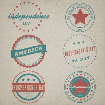 vector set of vintage labels for independence day - Free vector #134754