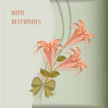 beautiful card with pink lilies - vector gratuit #134934