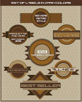 set of dark brown shop labels illustration in retro style - Kostenloses vector #135064