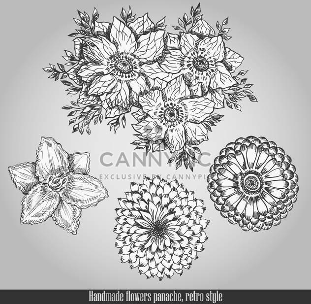 Handgemachte Blumen retro Flair Stil - Kostenloses vector #135094