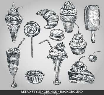 ice cream and cake set sketch illustration - vector gratuit(e) #135114