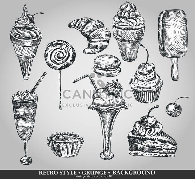 ice cream and cake set sketch illustration - Free vector #135114